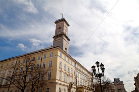 lemberg: wide angle view on City hall in Lviv (Lemberg) in Ukraine Editorial