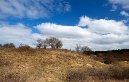 uncultivated: wild uncultivated hill and beautiful blue sky