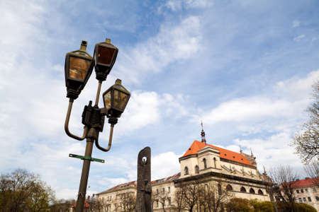 lemberg: old lantern over blue sky on Svobody ave in Lviv city