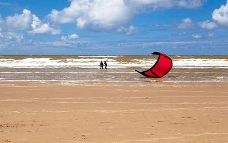 kitesurfing  -  adventure surface water sport in North sea close to Zandvoort photo