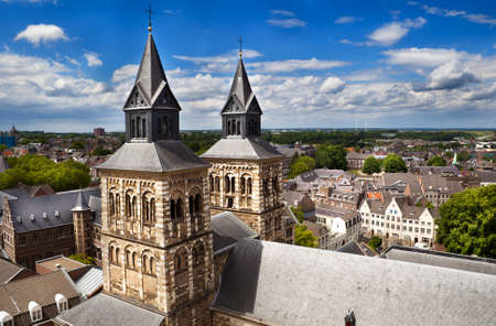 view on Maastricht and Basilica of Saint Servatius from the top of Sint-Janskerk Stock Photo