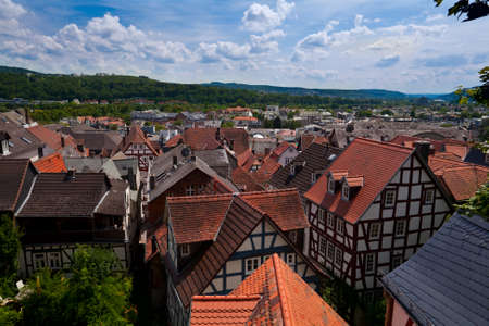 top view on Marburg city in Germany Stock Photo