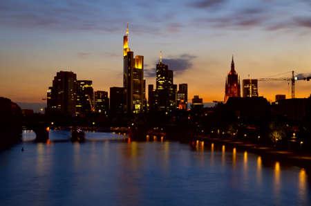 beautiful Frankfurt am Main and Main river at night photo
