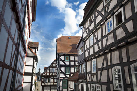 traditional old German houses in Marburg Stock Photo