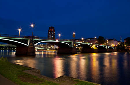 colorful Main river in Frankfurt city at night Stock Photo - 14613617