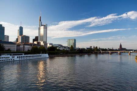 cityscape of Frankfurt from bridge on Main river Stock Photo - 14726757