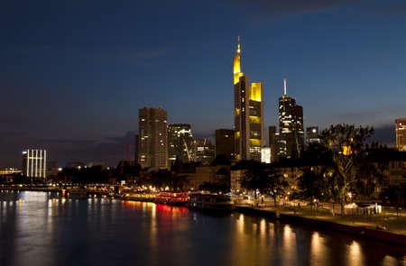 Frankfurt am Main city in night lights Stock Photo