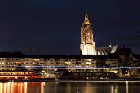Frankfurt am Main at night city view from river Stock Photo - 14973634