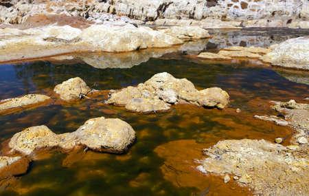 acidic: unique acidic river Tinto in Niebla (Huelva), Spain