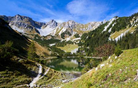 alpine high lake Soiernsee and Schottelkarspitze, Bavaria photo