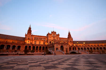 beautiful Plaza Espana at sunset in Sevilla, Spain Stock Photo - 15927649
