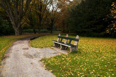 groningen: gezellige houten bank in de herfst park, Stadspark, Groningen