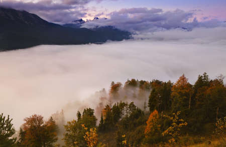 fog over autumn forest in high mountains