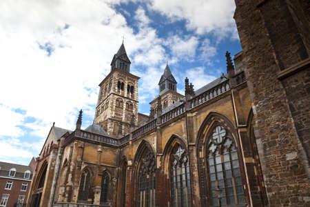 Vrijthof, Saint Servatius Basilica Romanesque church in Maastricht, Netherlands Stock Photo