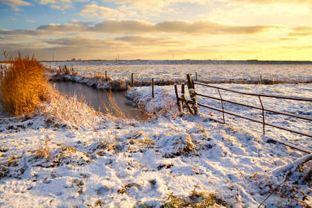 sunrise over Dutch fields covered with snow in winter photo