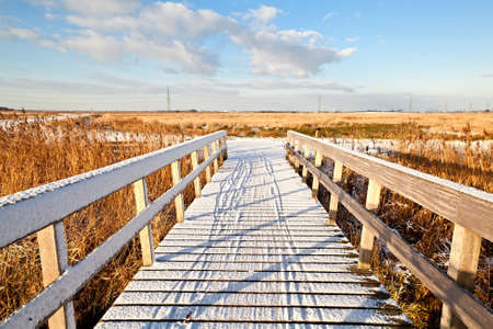 wooden bridge for bicycles in snow at winter Stock Photo - 17050832