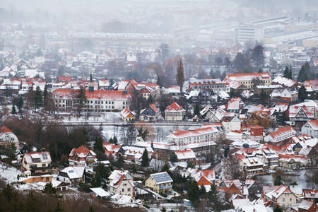 small city Ilsenburg in Harz mountains during winter photo