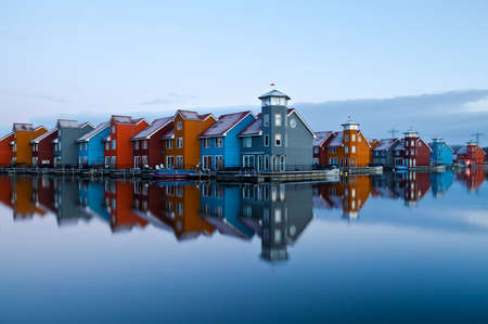 colorful building in Reitdiep jachthaven before sunrise