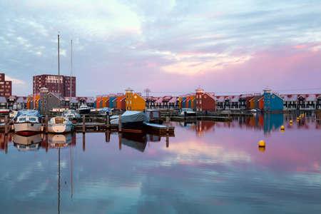 dramatic sunrise over Reitdiephaven marina  in Groningen Banco de Imagens