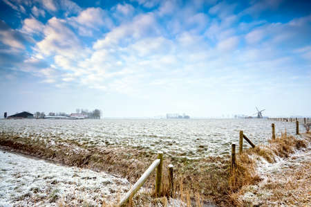 typical Dutch farmland in winter morning photo