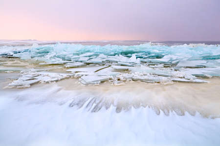 big pieces of broken ice on frozen North sea, Netherlands Stock Photo - 17621213