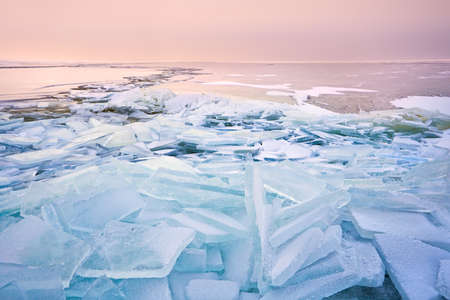 big broken ice pieces at sunset on North sea, Ijsselmeer Stock Photo - 17621215