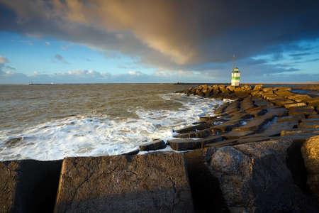 ijmuiden: Dutch lighthouse on North sea coast  in IJmuiden Stock Photo