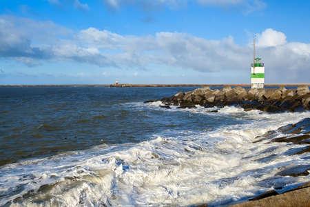 ijmuiden: Dutch lighthouse on coast of north sea, Ijmuiden