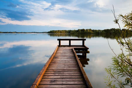 long lake: wooden pier on big lake in Groningen