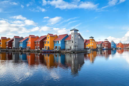 Reitdiephaven - colorful buildings on water in Groningen, Netherlands
