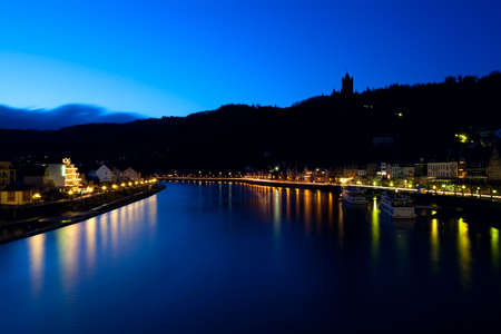 mosel: silhouette of over Mosel river in Cochem at night