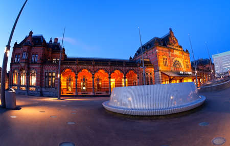 Central Railway station in dusk, Groningen, NEtherlands