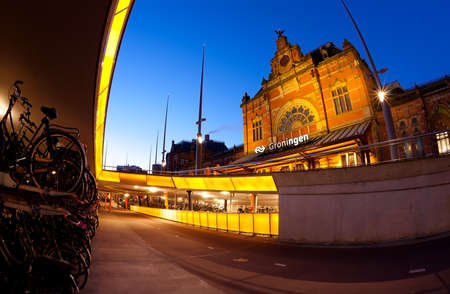 groningen: underground parking for bicycles by Central station in Groningen, Netherlands Stock Photo