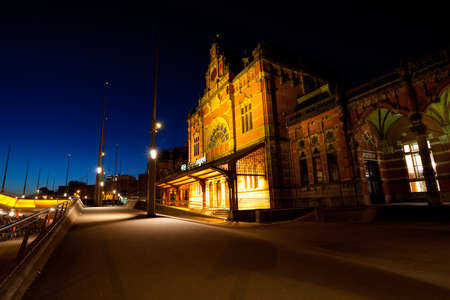 Train Central station in Groningen at night, Netherlands