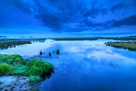 early blue calm morning dusk over swamp, Drenthe Stock Photo - 19049463