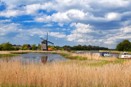 north holland: windmill over blue sky in Alkmaar, North Holland