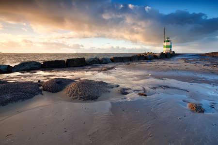 ijmuiden: lighthouse on North sea in Ijmuiden, Holland