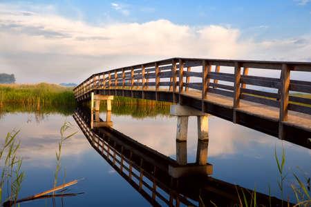 groningen: long wooden bridge over river, Groningen, Netherlands Stock Photo