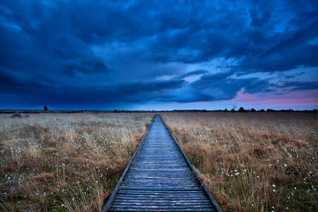 Holz-Weg durch Sumpf im Sturm im Sonnenuntergang Lizenzfreie Bilder