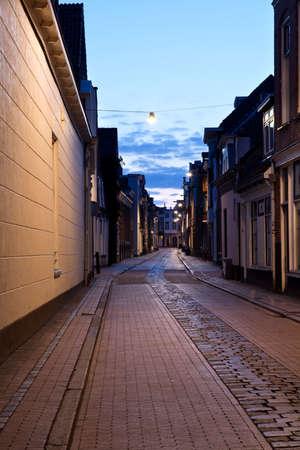 groningen: long street in Dutch city at night, Groningen, Netherlands