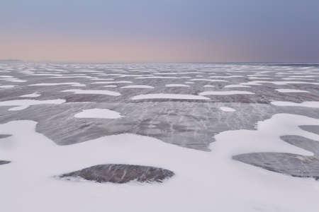 ijsselmeer: snow and wind texture on frozen Ijsselmeer lake, Netherlands