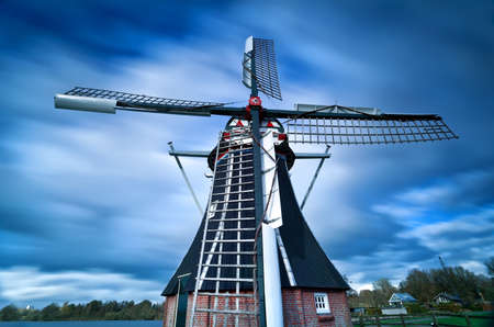 groningen: Dutch windmill and clouded sky with long exposure, Groningen, Netherlands