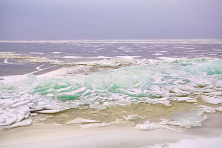 pieces of shelf ice on North sea, Ijsselmeer, Friesland, Netherlands photo