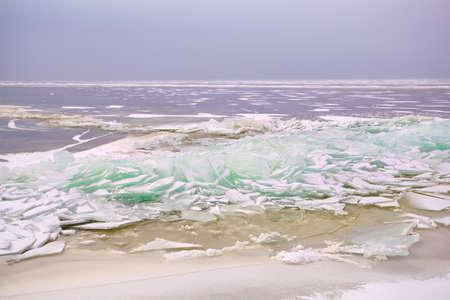 ijsselmeer: pieces of shelf ice on North sea, Ijsselmeer, Friesland, Netherlands
