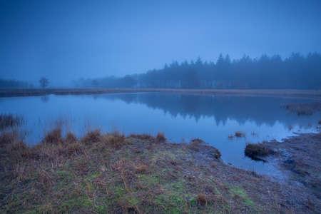 wild lake in dense autumn fog, Duurswoude, Friesland, Netherlands Stock Photo