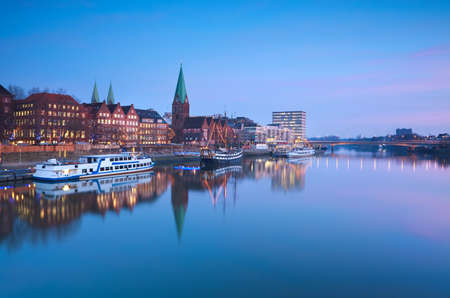beautiful sunset over river in Bremen, Germany
