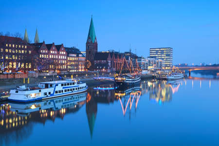 river in Beremn city in dusk during Christmas, Germany