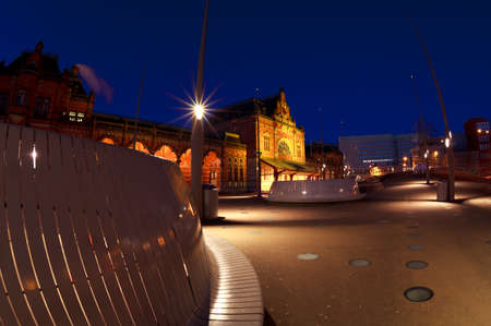 Central Station in Groningen by night, Netherlands