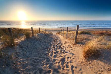 ザント フォールト aan zee、北のオランダ、オランダ、北海のビーチの砂へのパス