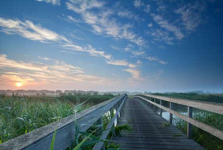 魅力的なオランダ霧日の出川木橋